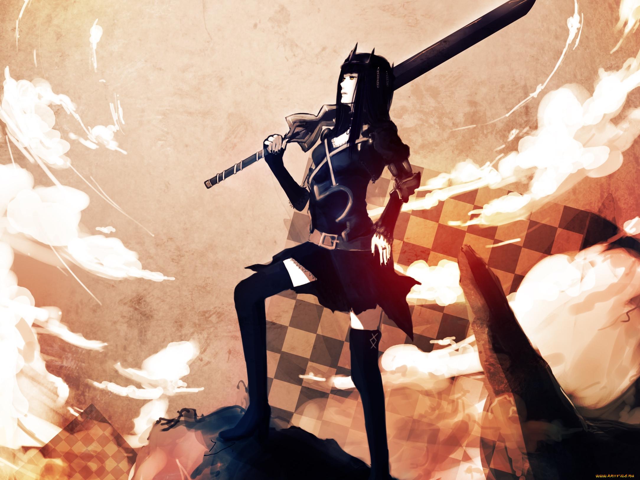 Скачать Стрелок с Черной горы, девушка, меч, скалы, корона, фото, обои
